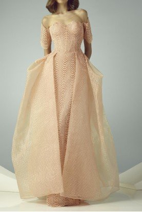 Beside Couture by Gemy Off Shoulder Peach Color Illusion Evening Gown