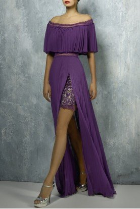 Purple Off the Shoulder Evening Gown
