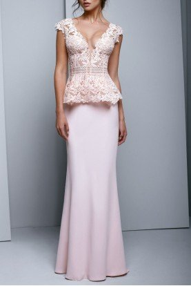 Blush Pink Lace Top Peplum Crepe Evening Gown