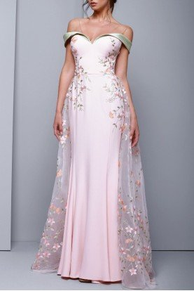 Pink Off the Shoulder Illusion Evening Gown