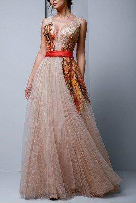 Beige Sleeveless Embroidered A Line Tulle Gown