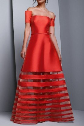 Red Off Shoulder Mikado Evening Gown
