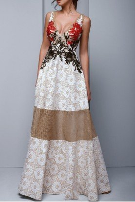 Ivory Brocade V Neck Evening Gown BC 1328