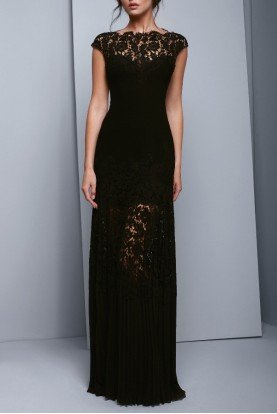 Black Cap Sleeve Lace Evening Gown