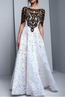 Long Sleeve Color Block Lace Evening Gown