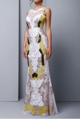 Sleeveless Embroidered Lace Evening Gown
