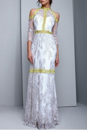 Long Sleeve White Lace Evening Gown