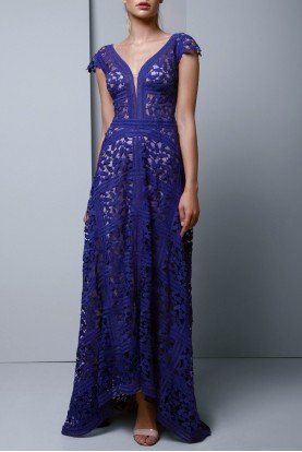 Beside Couture by Gemy Blue Embroidered Lace Cap Sleeve Evening Gown