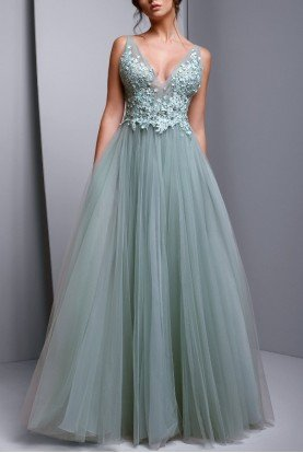 Sleeveless Embellished Evening Gown in Aqua Green