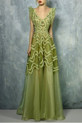 Sleeveless Olive Green Evening Gown