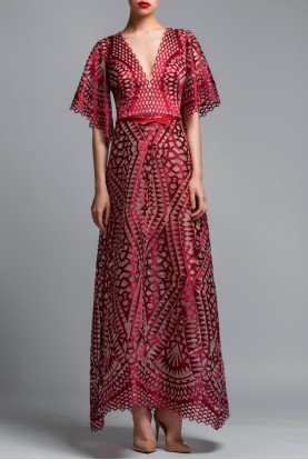 Short Sleeve Burgundy Evening Dress A Line Gown