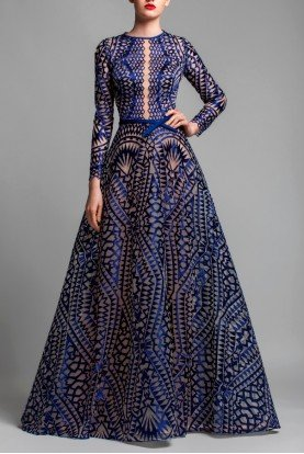 Long Sleeve A Line Evening Gown