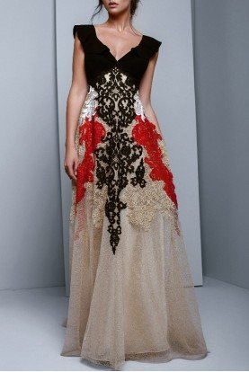 Cap Sleeve Gold A Line Evening Gown