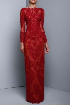 Long Sleeve Ruby Red Lace Evening Gown BC 1321