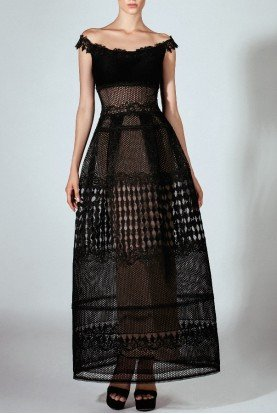 Beside Couture by Gemy Black Sheer Off Shoulder Guipure Gown
