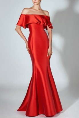 Red Off Shoulder Mikado Trumpet Gown