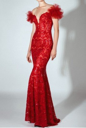 Red Off Shoulder Sequin Embroidered Illusion Gown