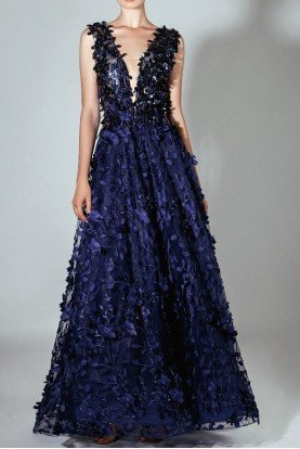 Navy Blue Laser Cut Flower Evening Gown