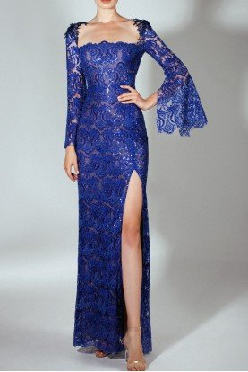 Embroidered Royal Blue Long Sleeve Gown