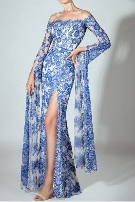Off Shoulder Long Sleeve  Blue Lace Evening Dress