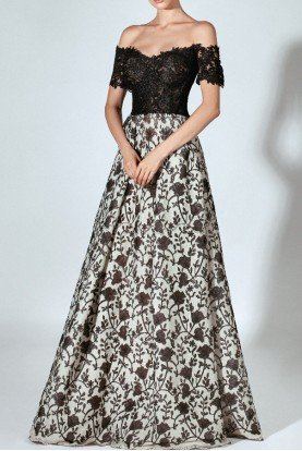 Black Lace Off the Shoulder A Line Gown