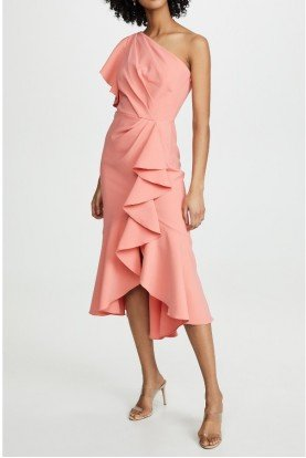 One Shoulder Ruffle Midi Dress in Coral