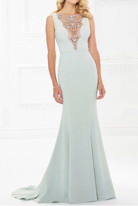 LIGHT SAGE MOB GOWN ILLUSION BEADED CREPE