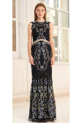 Black Sleeveless Embroidered Gown 445739