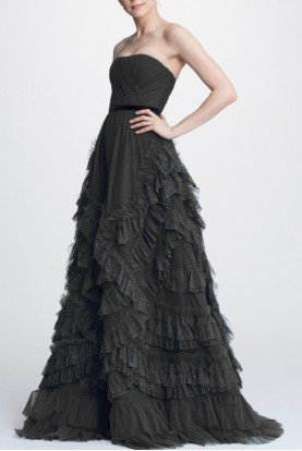 Black Strapless Textured Tulle Ball Gown N32G0928