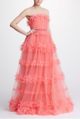Pink Strapless Tulle Ball Gown N32G0920