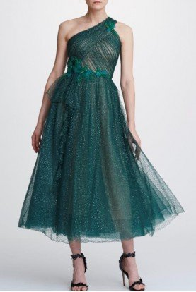Green One Shoulder Glitter Tulle Midi Tea Dress
