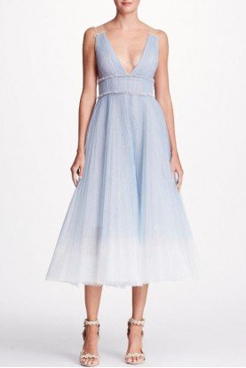 Marchesa Notte Blue Sleeveless Ombre Tulle Midi Dress N20G0516