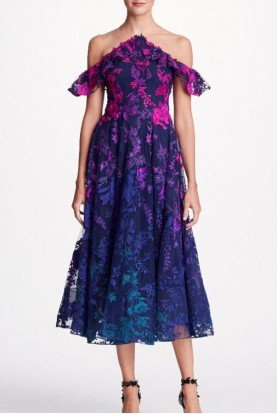 Navy Blue Ombre Floral Embroidered Midi Tea Dress