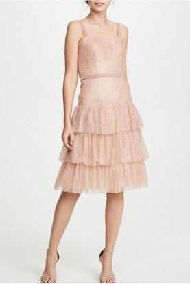 Marchesa Notte Rose Sleeveless Glitter Tulle Cocktail Dress
