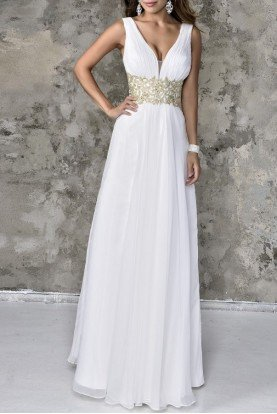White Chiffon V-Neck Gown 1231