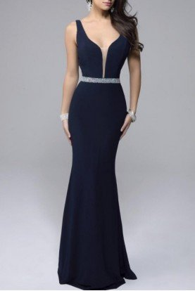 Nina Canacci Navy Plunging Fitted Gown 7230