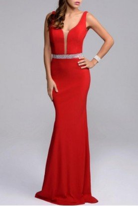 Red Plunging Fitted Gown 7230-R