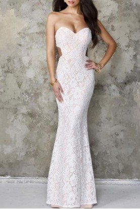 White Floral Embroidered Lace Strapless Gown 8121