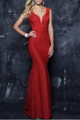 Red Lace V-Neck Fitted Mermaid Gown 7354