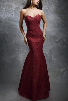 Nina Canacci  Red Lace Mermaid Gown 1278