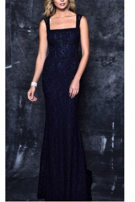 Nina Canacci Blue Lace Gown 7363
