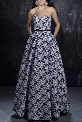 Nina Canacci Black and White Floral Gown 1276