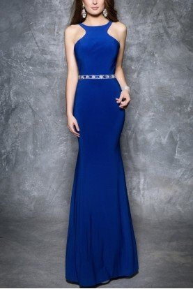 Nina Canacci Royal Blue Open Back Gown 1321