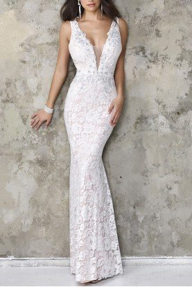 White Lace V-Neck Gown 8114