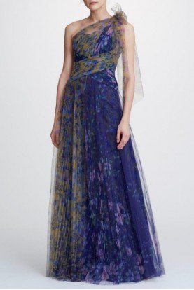 One Shoulder Printed Tulle Gown N32G0914