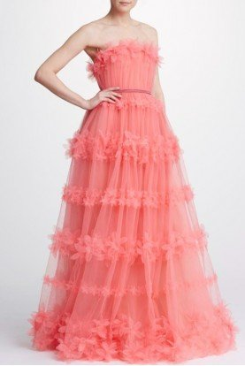 Coral Strapless Tulle Ball Gown N32G0920