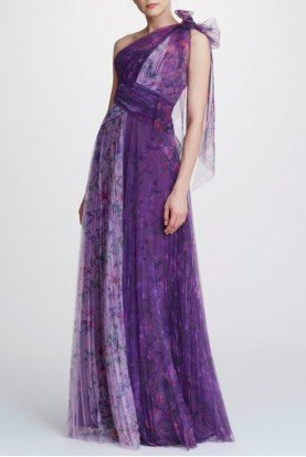 One Shoulder Floral Tulle Gown N32G0914