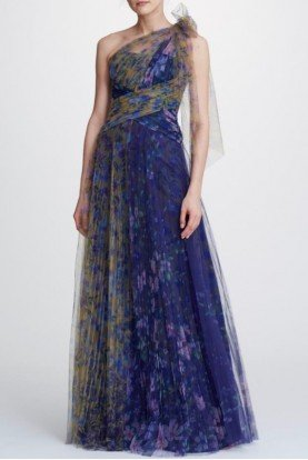 Marchesa Notte Navy One Shoulder Printed Tulle Gown N32G0914