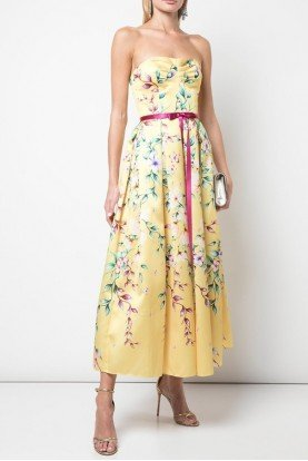 Marchesa Notte Yellow Strapless Mikado Floral Midi Dress N32G0956