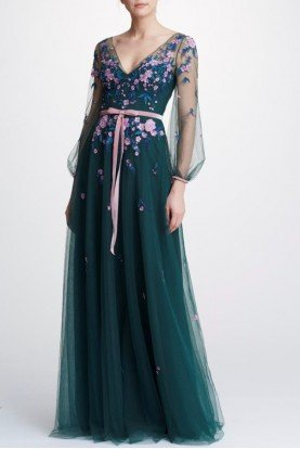Emerald Beaded Embroidered Gown N32G0925